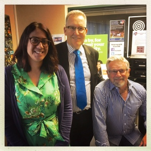 Mayor Andrew King has been a regular guest on Free FM. (Pictured alongside fellow Free Breakfast host Mike Williams).